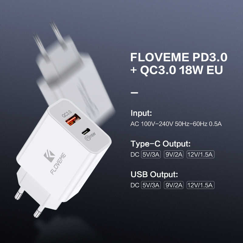 Floveme Pd Charger 18W Dual Usb Snel Opladen 3.0 Oplader Voor Iphone Samsung Xiaomi Qc 3.0 Cargador Mobiele Telefoon charger Adapte