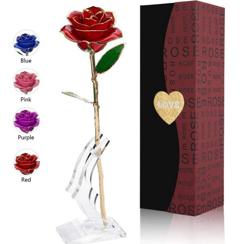 Любовь 24K роза из золотистой фольги постоянный цветок с кронштейном подарок на день Святого Валентина День матери юбилей декор для вечеринк