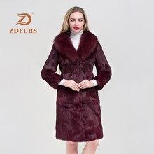 ZDFURS*Luxury Long Customize Plus Size Factory Real Price Genuine Rabbit Fur Coat Women Jacket New Winter