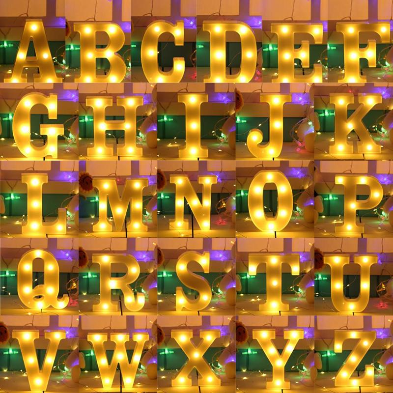 DIY Christmas Light Marquee Sign Alphabet 3D Wall Hanging 26 English Letter LED Night Light Home Halloween Wedding Party Decor