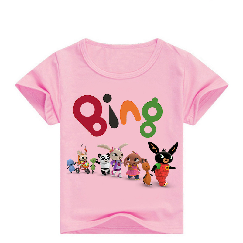 2-16Years Funny Red Bing Rabbit Tshirt Children's T-Shirts Cartoon Animal Friends Boys T Shirt Kids Summer Clothes Girl Shirts