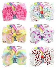 1 piece 8 JoJo Clip Glitter Rainbow Print love Bow With Alligator Clips Kids Cute Hair Accessories Hairpins Barrettes