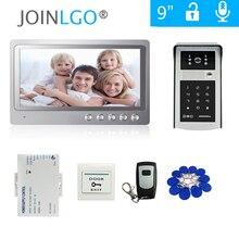 Комплект домофона, видеодомофон с 9 дюймовым ЖК экраном и уличной клавиатурой с RFID кодом, дверной звонок, камера с дистанционным управлением и питанием