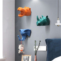 Simulation Animal Head Resin Stereoscopic Hook Personality Living Room Entrance Wall Hat And Coat Stand X2423