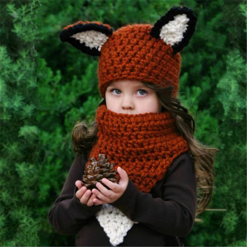 2019 New Arrival Maylisacc Squirrel Hat Scarf Set European American Winter Cartoon Children's Hook Warm Hand Fox Neck Hat Set