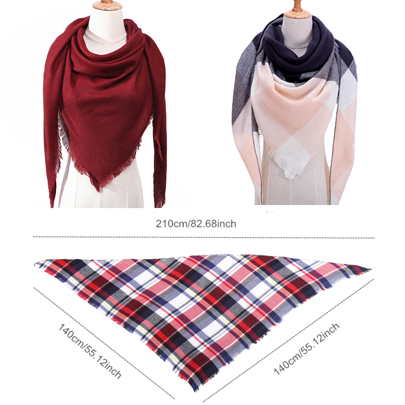 2019 women scarf fashion plaid cashmere scarves lady winter shawls and wraps bandana female knitted foulard Triangle neck scarfs in Women 39 s Scarves from Apparel Accessories