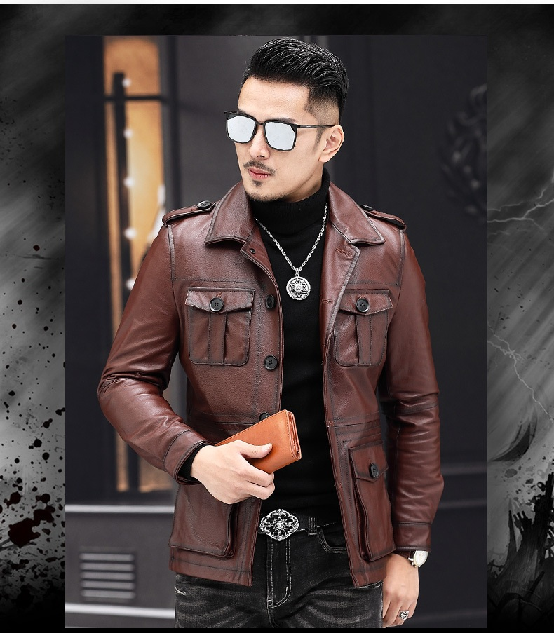 2020 New Casual Fashion Man Genuine Coat Quality Cowhide Jackets Vintage Leather Jacket