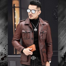 2020 New Casual Fashion Man Genuine Coat Quality Cowhide Jackets Vintage Leather