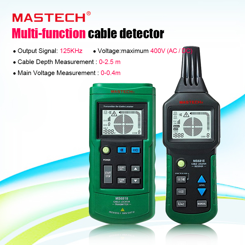 Mastech MS6818 Portable Wire Cable Tracker Metal Pipe Locator Detector Tester Line Tracker Voltage12~400V CABLE LOCATOR RECEIVER|receiver|receiver cable|  - title=