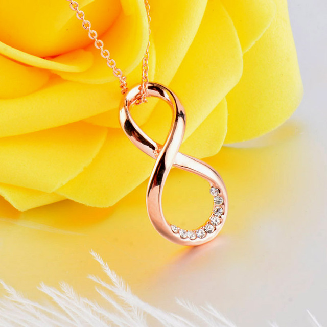 SINLEERY Eight Shape Pendant Necklace Rose Gold Color Chain Crystal Paved Infinity Necklace For Women Jewelry XL516 SSK
