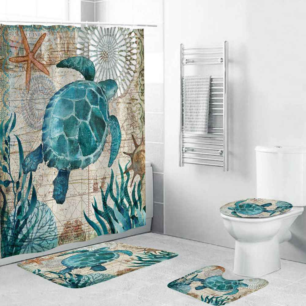 Floral Shower Curtain Set Thick Bathroom Rugs Bath Mat Non-Slip Toilet Lid Cover