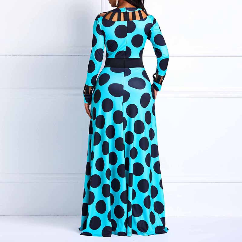 Sexy Maxi o-neck long sleeve plus size long dress