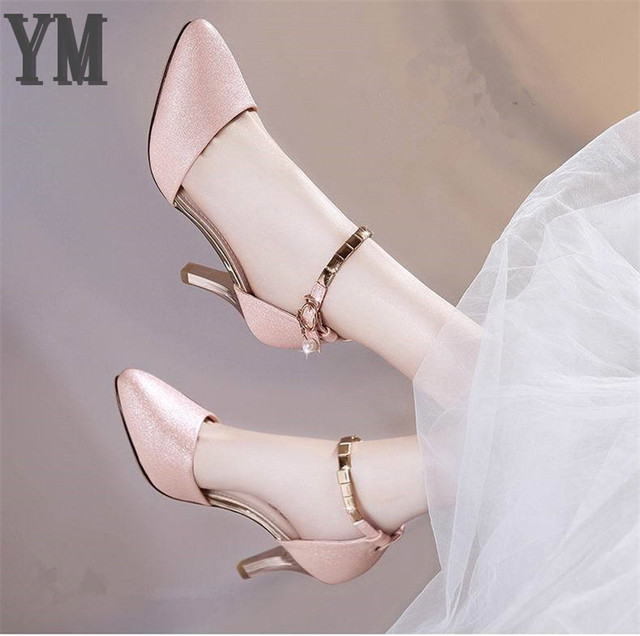 Summer Women Shoes Pointed Toe Pumps Dress Shoes Thin High Heels Boat Shoes Wedding Shoes tenis feminino Side with 35-40 1