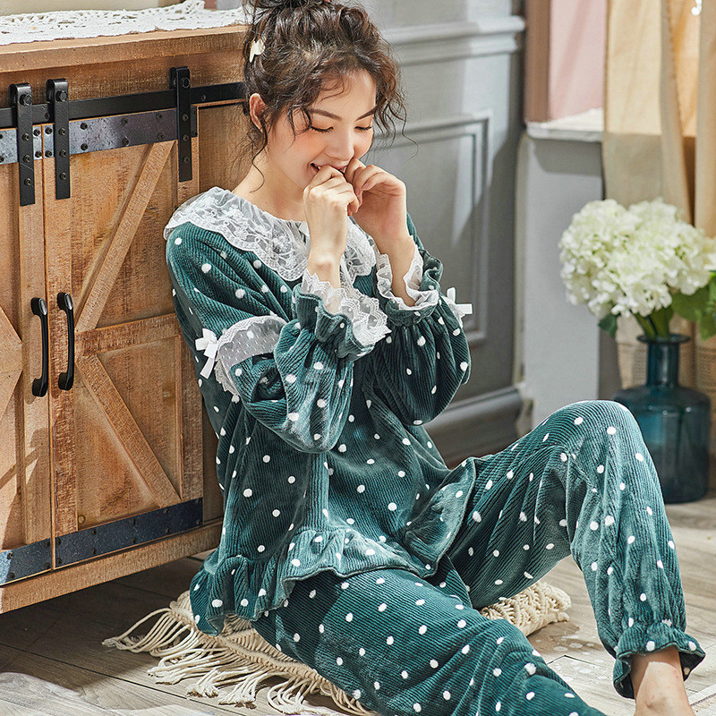 JULY'S SONG Women Cute Thick Flannel Pajama Sets Sleepwear Wave Autumn Winter Lace Pajamas Warm 2 Pieces Pajamas Homewear Suit 28