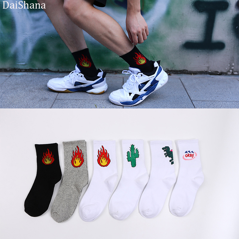 DaiShana New Arrival Unisex Korean Japanese Sock Harajuku Fashion Casual Funny  Cartoon Cotton Flame Cactus Dinosaur White Socks