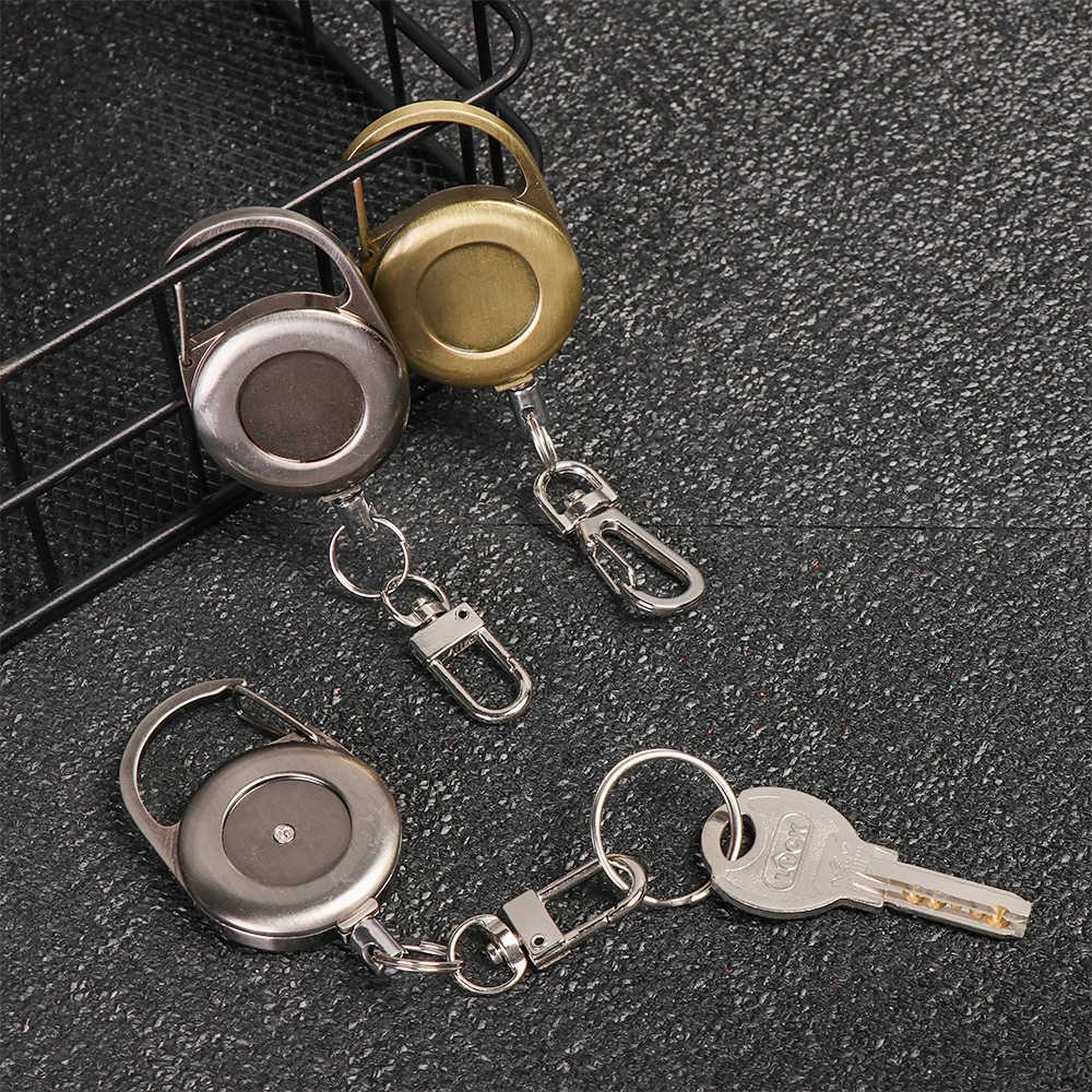 1Pc chowany brelok breloki ze stali nierdzewnej Reel klip pokrowiec na karty ID Key Ring Carabine Anti-lost odkryty zaczep na pasek