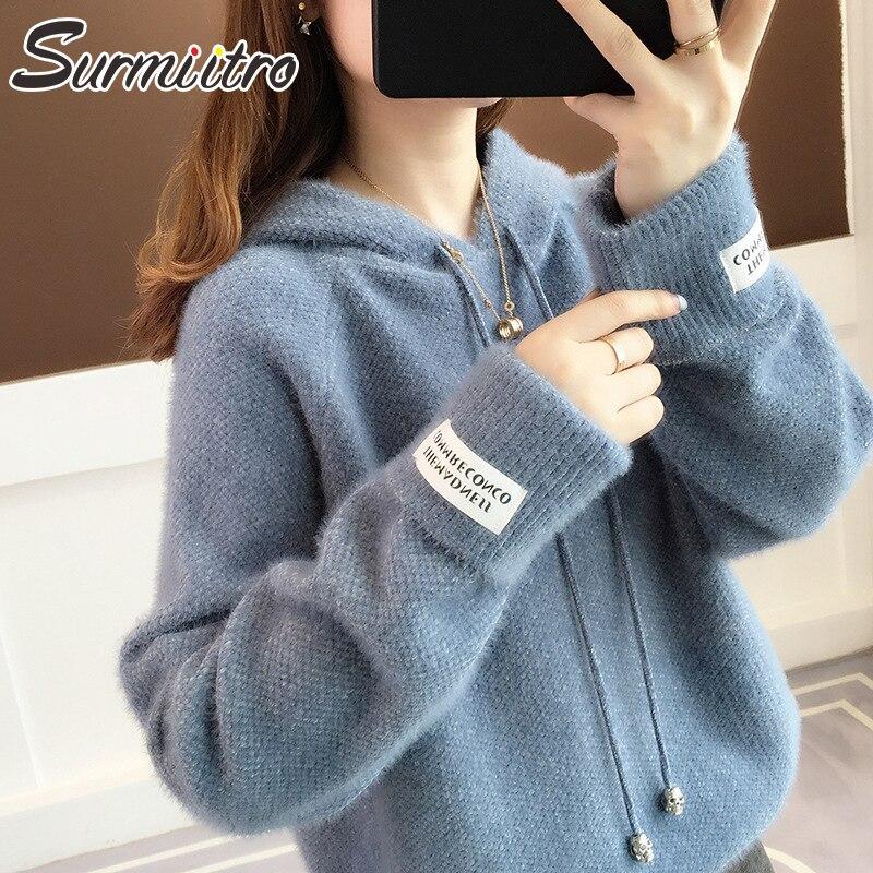 Surmiitro Mink Cachemira sudaderas con capucha de punto mujeres 2019 otoño invierno coreano Kpop manga larga Sudadera con capucha mujer Jersey azul