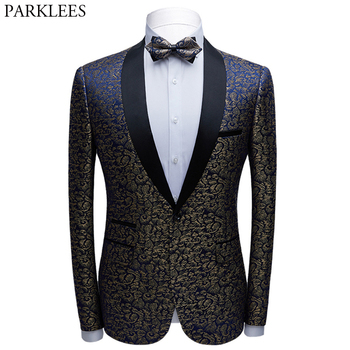 Luxury Wedding Suit Jacket Men 2020 Fashion Brand New Shawl Collar Slim Fit Mens Floral Dress Blazers Groom Grooms Men Costume