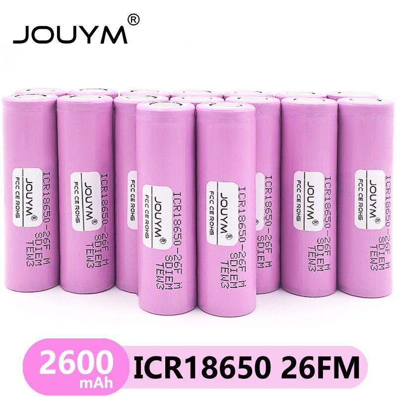 40 шт./лот 3,7 V 2600 мА/ч, JOUYM оригинальный 18650 литий-ионная аккумуляторная батарея для ICR18650-26FM ICR18650 26F 2600 мАч батареи