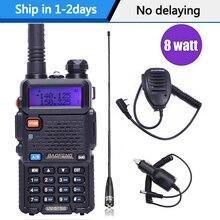 Baofeng UV 5R 8W yüksek güç güçlü walkie talkie iki yönlü telsiz 8watt cb taşınabilir radyo 10km uzun aralığı pofung UV5R avcılık