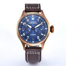 Corgeut 42MM Mens blue dial Luxury Sport Copper case power reserve Automatic Mechanical