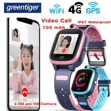 Greentiger 4g a81 crianças relógio inteligente chamada de vídeo gps wifi posição ip67 à prova dip67 água monitor remoto câmera do bebê smartwatch pk y95
