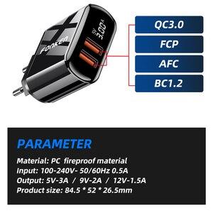 Image 2 - FONKEN cargador rápido 3,0 PD, 2 puertos de carga rápida para cargador de teléfono, puerto USB tipo C, adaptador de pared, pantalla LED, cargadores de tablero