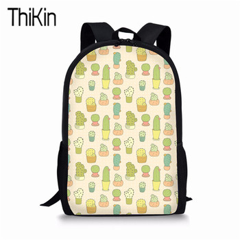 THIKIN Cactus Cute Children Book Bags School Backpack for Kids Girl Plant Design Kindergarten Backpacks Sets mochila