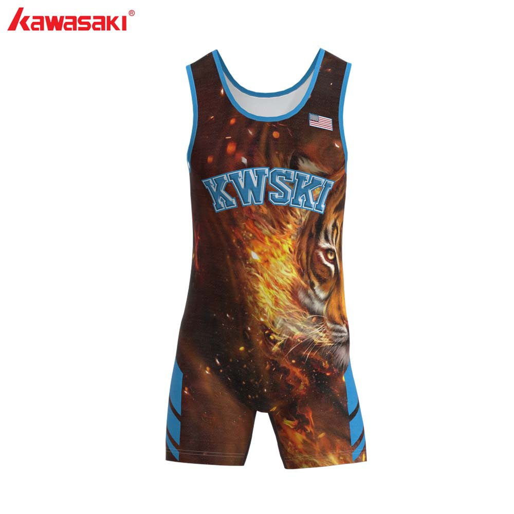 Kawasaki Sublimated Wrestling Singlet For Men And Youth, Power Lifting And Exercise Equipment MMA Wrestling Cloth Underwear