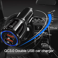 5V 9V 12V Qc3.0 Car Charger Multi-function One For Two Dual USB Car Phone Charger Adapter Interior Accessories(China)
