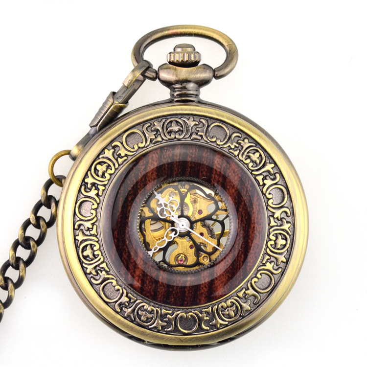 Fashion Mechanical Pocket Watch Red Wood Skeleton Clock Men Women Gift Pocket Watches With Chain