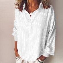 2019 Women Fashion  Loose Casual Striped Button Lapel Long Sleeve Shirt Top Blouse  8.1 autumn striped blouse women designer top button loose up shirt long sleeve korean fashion clothing 2019