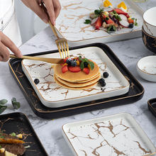 Creative Steak Square Tableware Set Marble Western Dish Ceramic Dish Plate Dish Sushi Desserts Tray