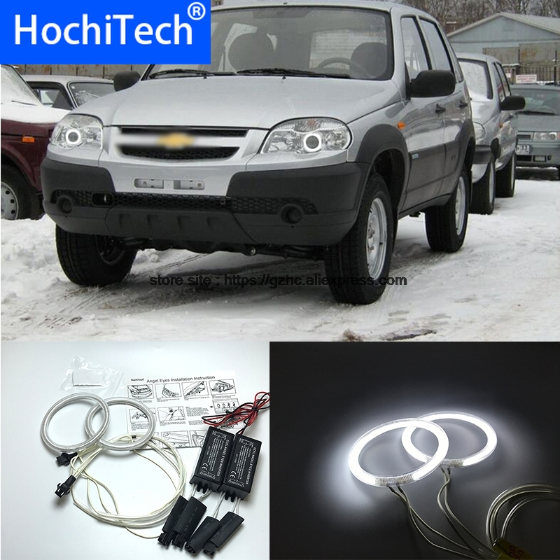HochiTech For Chevrolet Niva 2009-2013 Ultra Bright Day Light DRL CCFL Angel Eyes Demon Eyes Kit Warm White Halo Ring