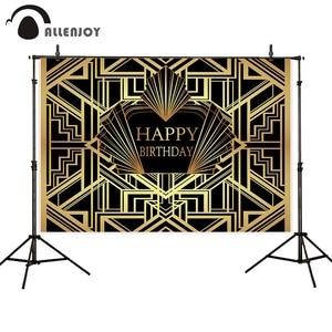 Image 4 - Allenjoy Gatsby Vĩ Đại Nền Vintage Xe Nữ Sinh Nhật Vui Vẻ Phông Nền Photozone Vàng Sang Trọng Trưởng Thành Sự Kiện Đảng Biểu Ngữ