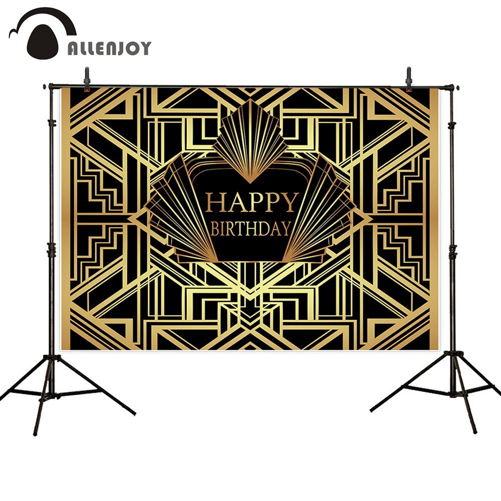Image 4 - Allenjoy Great Gatsby Background Vintage Car Lady Happy Birthday Backdrop Photozone Golden Luxurious Adult Event Party BannerParty Backdrops   -