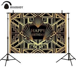 Image 4 - Allenjoy Great Gatsby фон для фотосессии, винтажный, для женщин, с днем рождения, золотой, роскошный, для взрослых, вечерние, баннеры для мероприятий