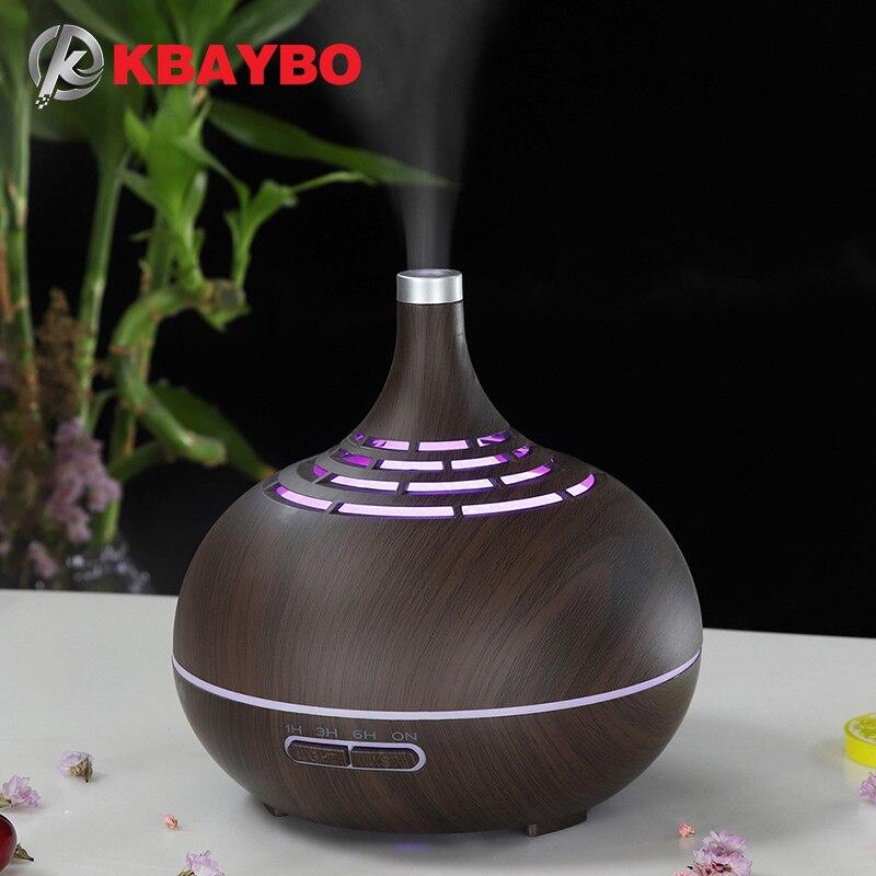 Aroma Difusor del aceite esencial del del humectador de aire 400ml con el grano de madera 7 luces LEVOU cambiantes del cor