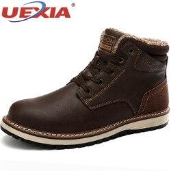 Uexia marca nova pele de inverno ceia quente de pelúcia botas de neve para homens adultos sapatos masculinos não deslizamento de borracha botas casuais tornozelo
