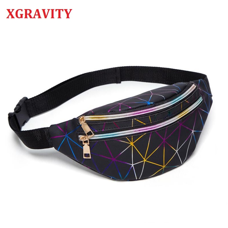 New Hot Women's Fashion Waist Packs Personalized Rock And Roll Color PU Leather Flashing Lattice Belt Bag Nerka Fanny Pack H002
