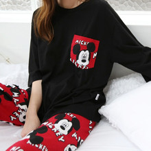 Pants Pajamas Home-Service-Suit Mickey Disney Cute Summer Cartoon Cropped Thin-Section