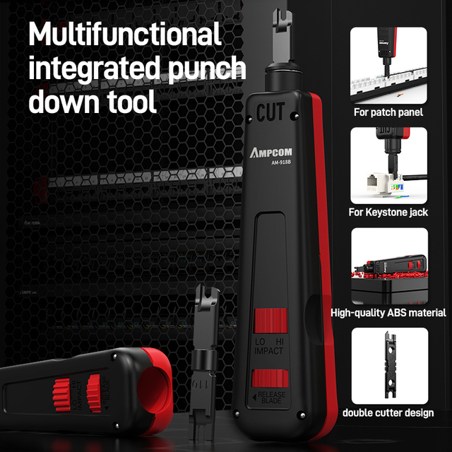 Punch Down Tool, AMPCOM 110 Type Multi-function Network Cable Tool with Two Blades Telephone Impact Terminal Insertion Tools 2