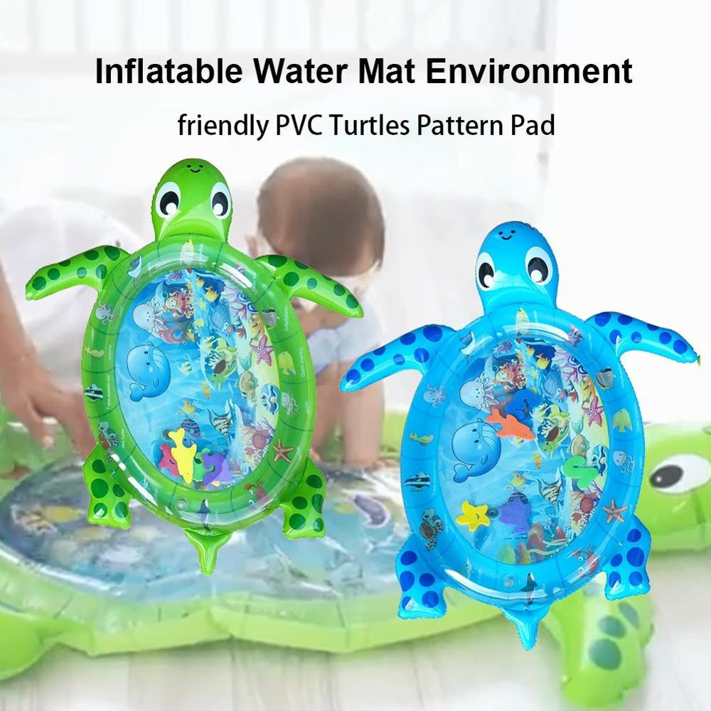 2020 New  Creative Sea Turtle Shape Baby Toys Inflatable Patted Pad Baby Inflatable Crawling  Water Play Mat For Infants