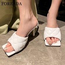 FOREADA женщина тапочки квадратный носок высокие каблуки мода мелкая повседневная тонкий каблук Обувь женщины сандалии лето черный белый