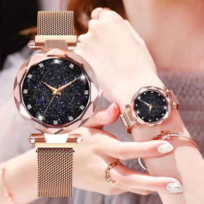 Stainless Strap Women Watches Fashion Elegant Magnet Buckle Vibrato Purple Ladies Wristwatch Starry Sky Roman Numeral