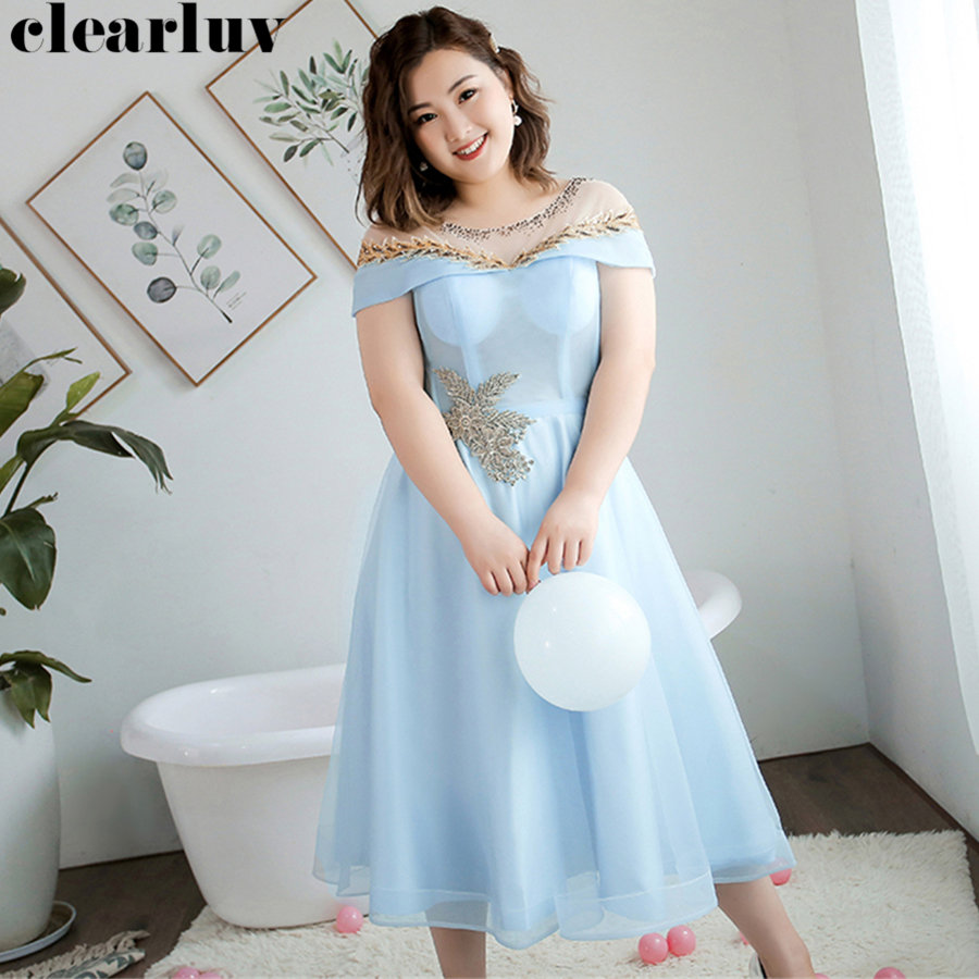 Prom Dress Plus Size Short Sleeve Dresses Women Party Night 2019 T239 Crystal Applique Vestidos De Gala A-Line Formal Ball Gown