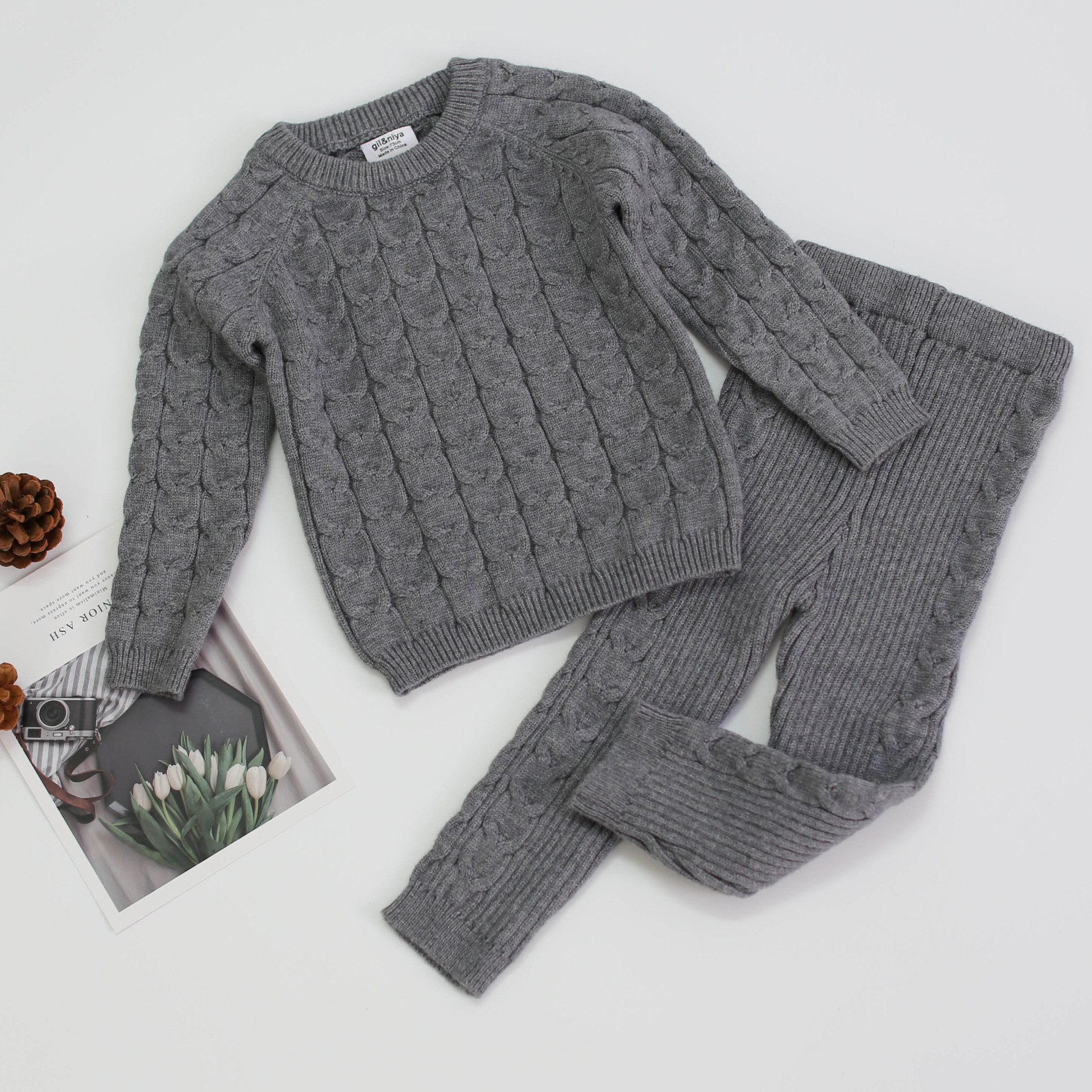 Baby Girls Boys Knit Suit toddler children Clothing Sets Winter knitting Pullover Sweater+Pants Infant kids Tracksuits pink gray 3