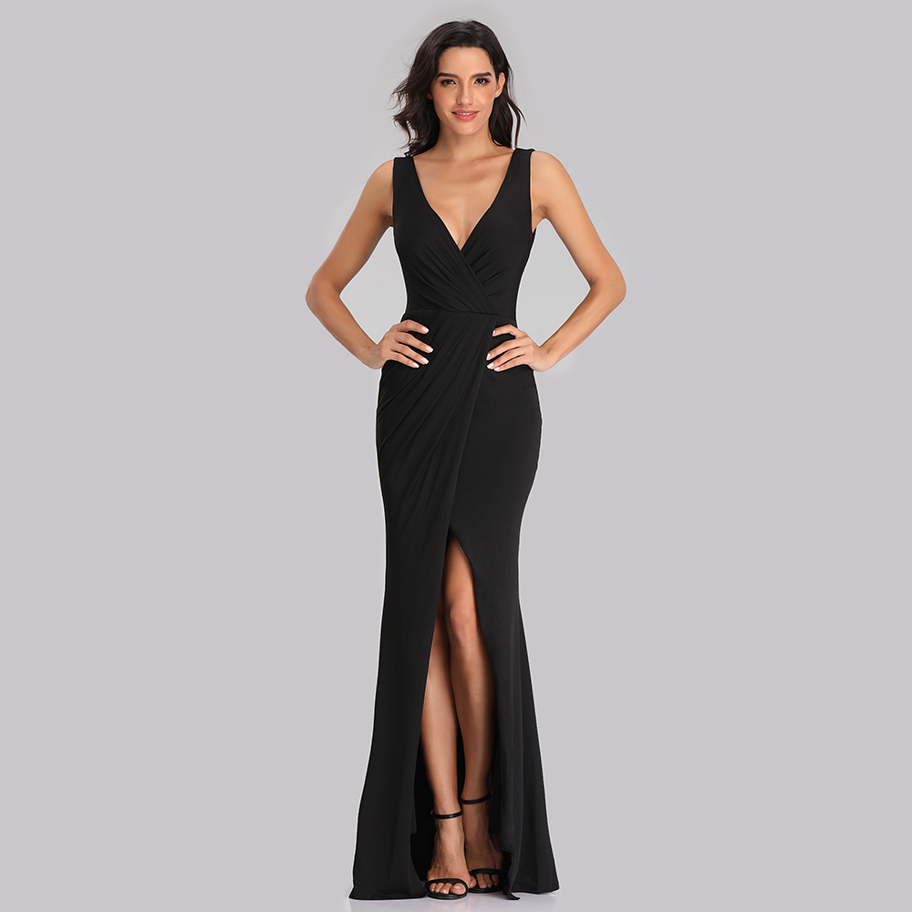 New Simple Mermaid Evening Dress Gown Elegant Sexy V Neck Pleated Waist High Slit Cheap Banquet Dinner Prom Party Dress Vestidos