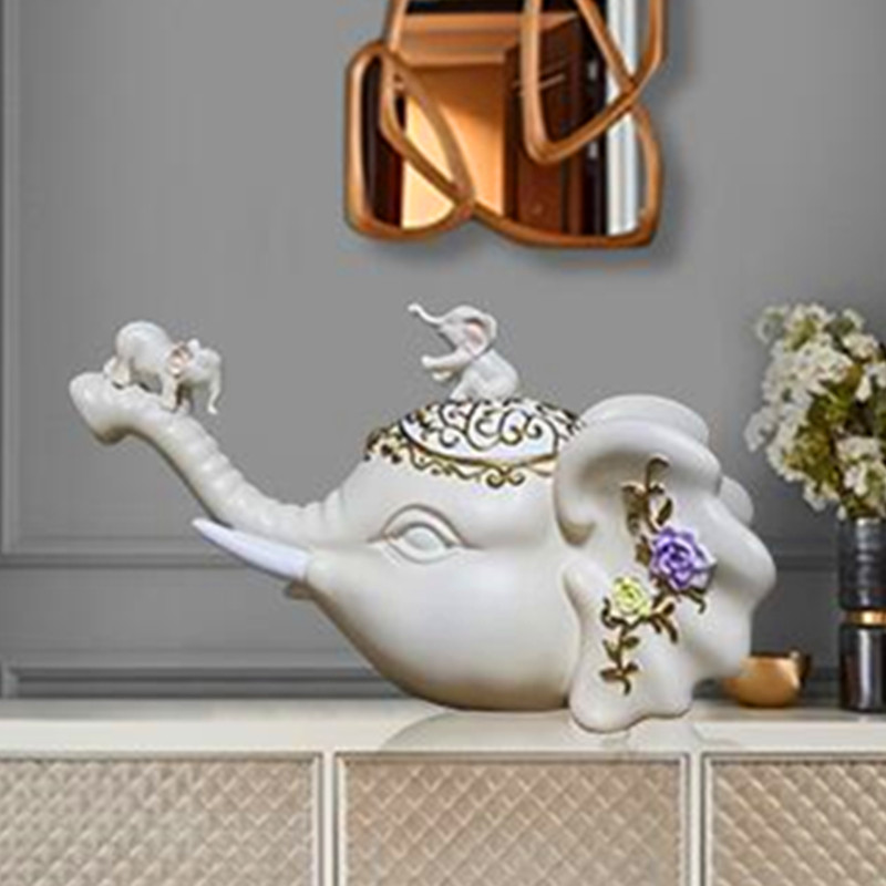 European Style Simulation Elephant Head Resin Statue Creative Living Room Entryway Craftwork Figurines Decoration X2980|Statues & Sculptures| |  - title=