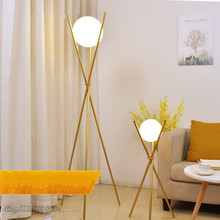 Modern Glass Ball Gold Floor Lamp Home Decor Tripod Standing Lamps Metal Stand Lights for Living Room Bedroom Light Fixtures(China)